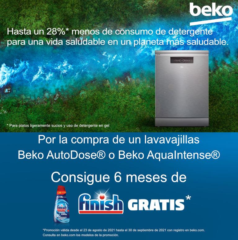 Consigue 6 meses de Finish Gratis por la compra de tu lavavajillas AutoDose - AquaIntense Beko