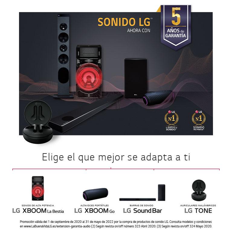 Compra tu producto de audio LG y consigue 5 años de garantía