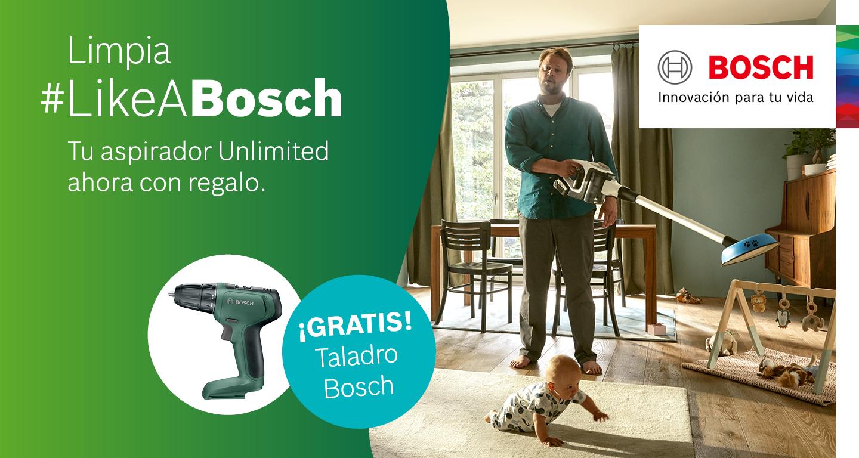 Consigue una atornilladora taladradora de regalo con la compra de un aspirador Unlimited Bosch