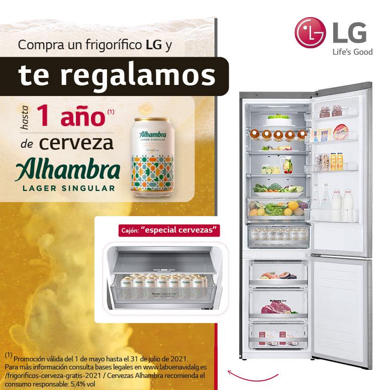 Consigue hasta 1 año de cerveza Alhambra por la compra de tu frigorífico LG