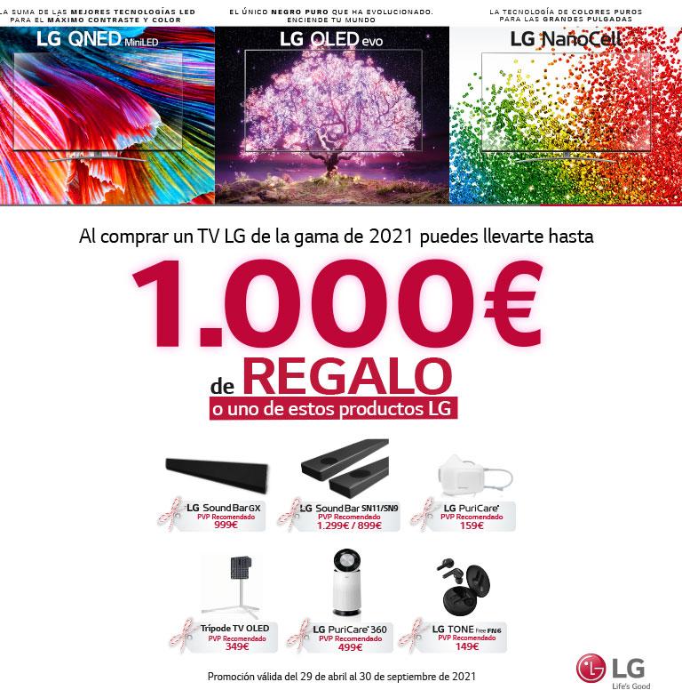 Consigue un reembolso determinado o un producto por la compra de tu televisor OLED, QNED o Nanocell LG
