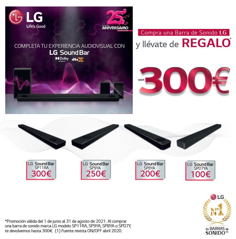 Consigue un reembolso de hasta 300 euros por la compra de tu Barra de Sonido LG