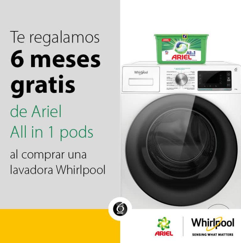 Consigue 6 meses de detergente por la compra de tu lavadora Whirlpool