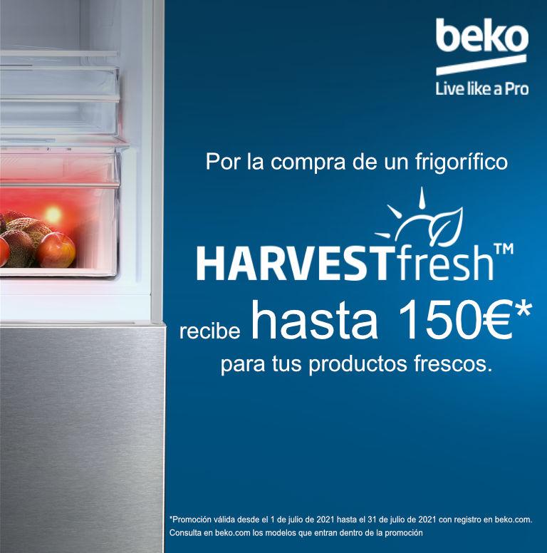 Consigue un regalo de hasta 150 euros por la compra de tu frigorífico HarvestFresh Beko
