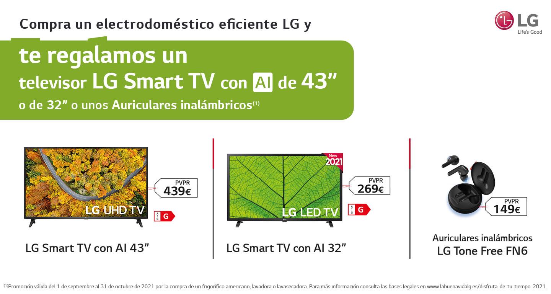 Consigue un televisor LG Smart TV de hasta 43 pulgadas o unos auriculares por la compra de tu electrodoméstico eficiente LG