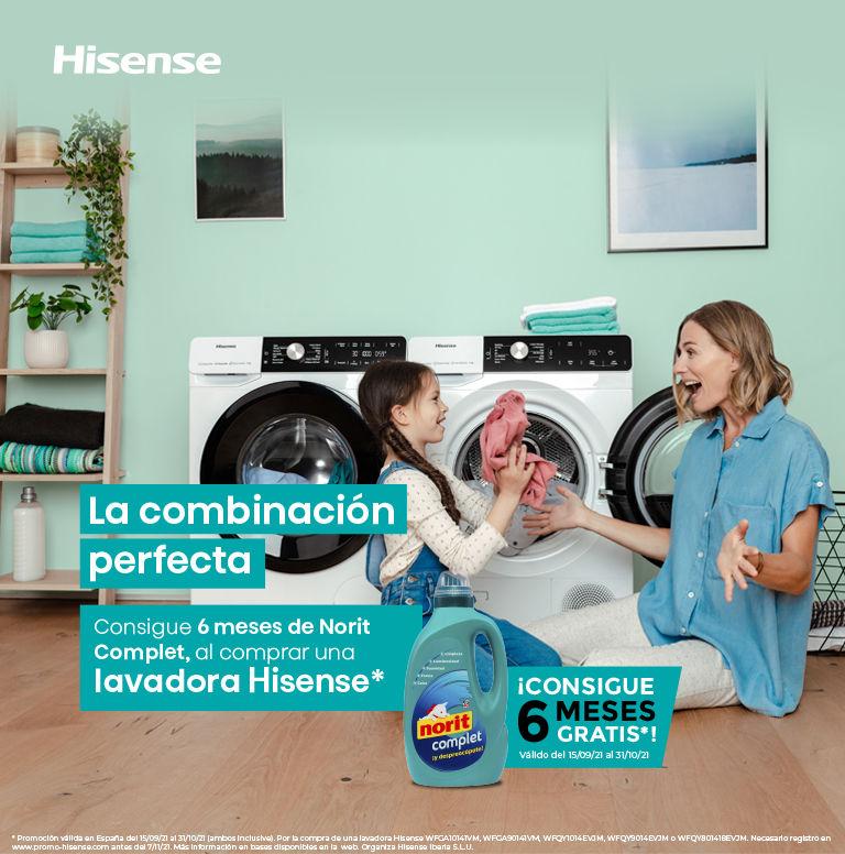 Consigue 6 meses de Norit por la compra de tu lavadora Hisense